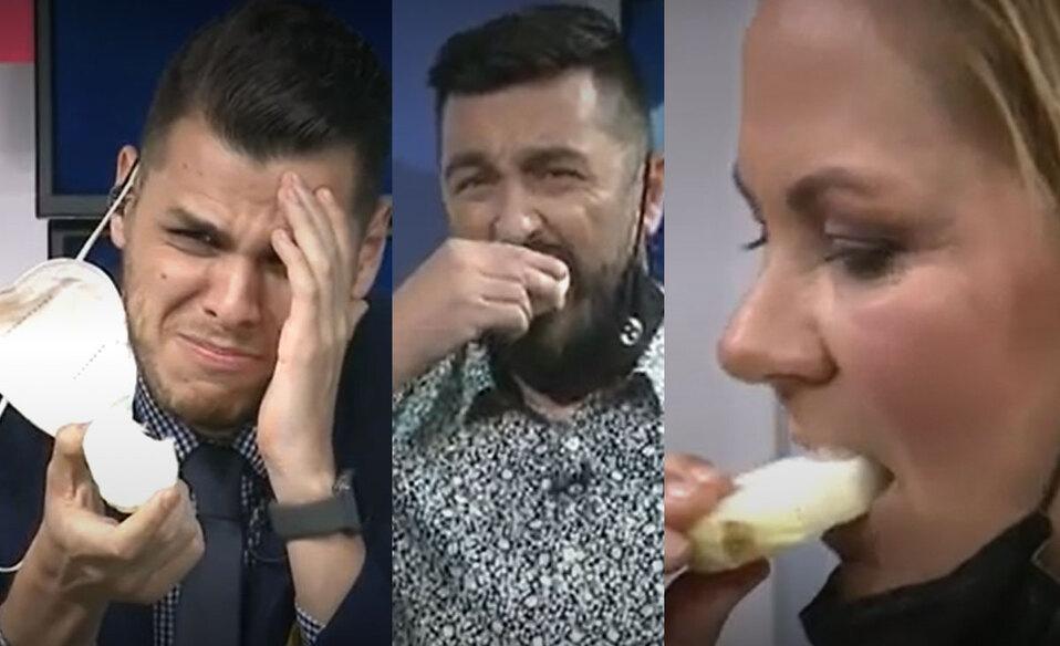 Comen cebolla en Fútbol al Día durante reto en vivo | VIDEO