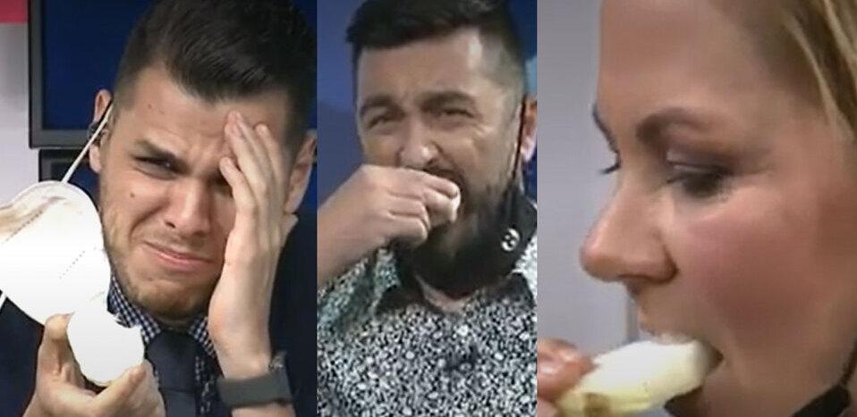 Comen cebolla en Fútbol al Día durante reto en vivo   VIDEO