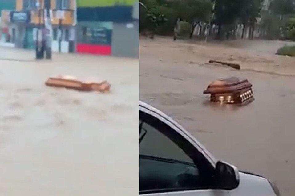 Ataúdes flotando durante inundaciones por huracán Grace en México