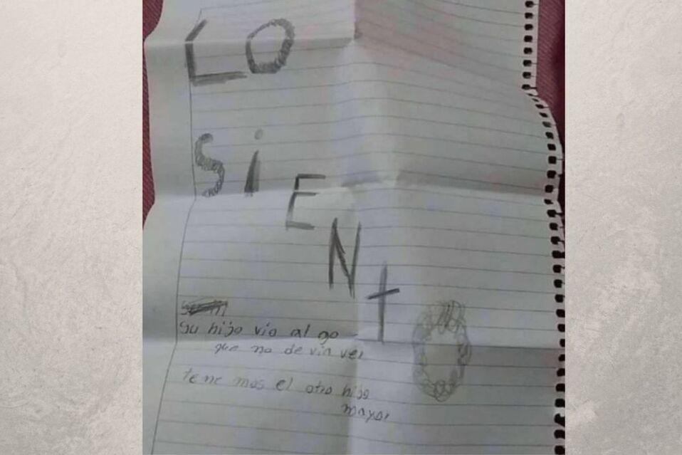 Nota encontrada junto al menor fallecido de dos años