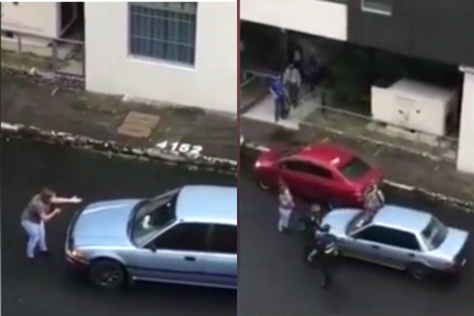 Mujer no deja ir a causante de accidente en San José