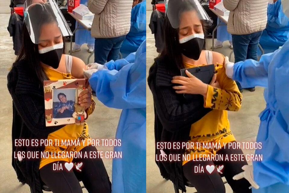 Mujer asegura que adquirir la dosis de la vacuna es por su madre y por los que no pudieron llegar a ese día. (Fuente: TikTok)