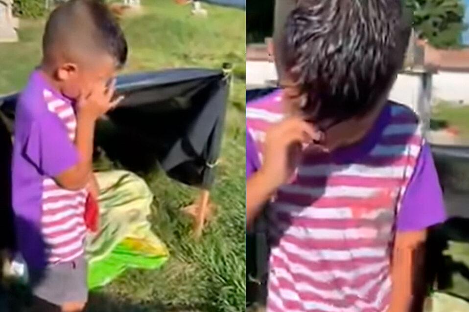 Niño dice que limpia y vive en el cementerio.