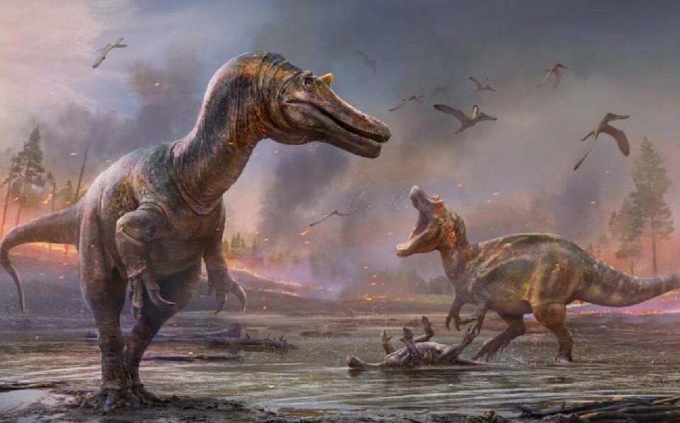 Aspecto que habrían tenido dos dinosaurios espinosáuridos llamados Ceratosuchops inferodios (primer plano) y Riparovenator milnerae (fondo),